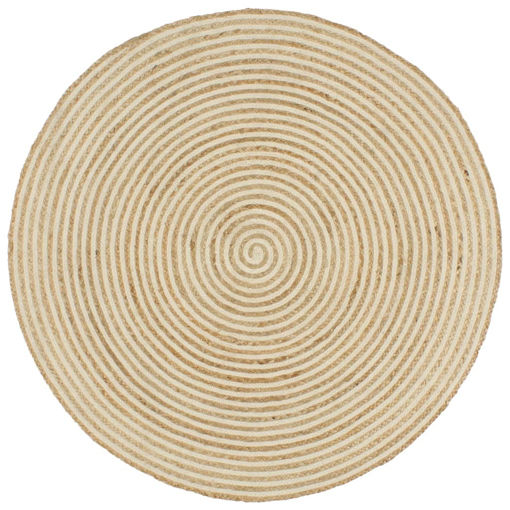 Immagine di Tappeto Lavorato a Mano in Juta Design a Spirale Bianco 90 cm
