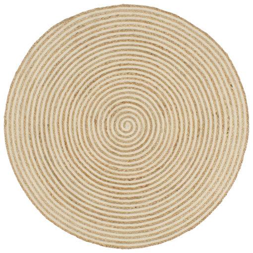 Immagine di Tappeto Lavorato a Mano in Juta Design a Spirale Bianco 120 cm