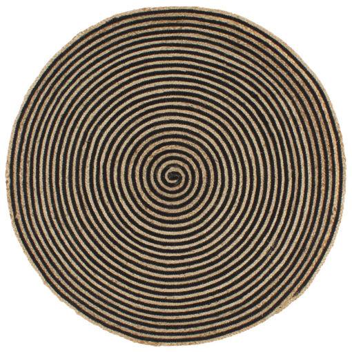 Immagine di Tappeto Lavorato a Mano in Juta Design a Spirale Nero 90 cm
