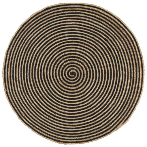 Immagine di Tappeto Lavorato a Mano in Juta Design a Spirale Nero 150 cm