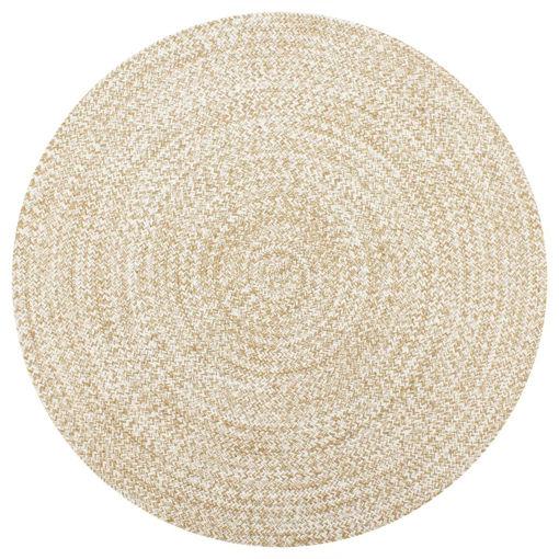 Immagine di Tappeto Artigianale in Juta Bianco e Naturale 150 cm