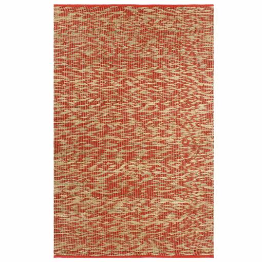 Immagine di Tappeto Artigianale in Juta Rosso e Naturale 80x160 cm