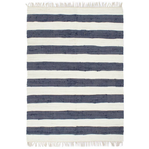 Immagine di Tappeto Chindi Tessuto a Mano in Cotone 80x160 cm Blu e Bianco
