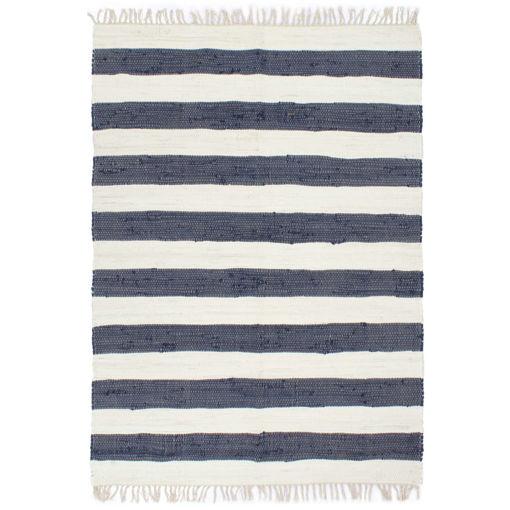 Immagine di Tappeto Chindi Tessuto a Mano in Cotone 160x230 cm Blu e Bianco