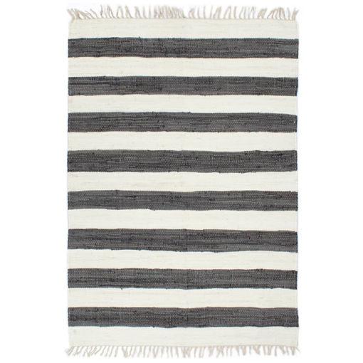 Immagine di Tappeto Chindi Artigianale Cotone 80x160 cm Antracite e Bianco