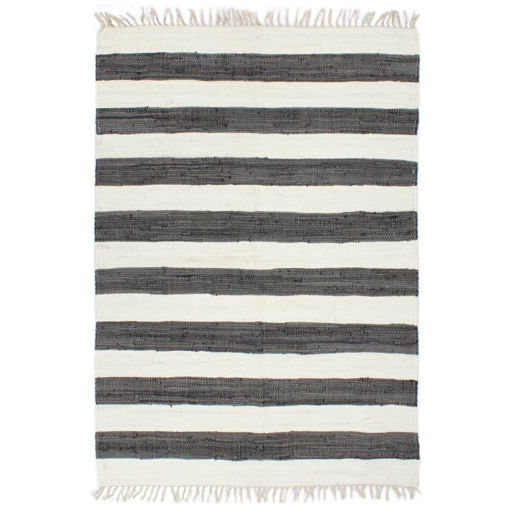 Immagine di Tappeto Chindi Artigianale Cotone 200x290 cm Antracite e Bianco