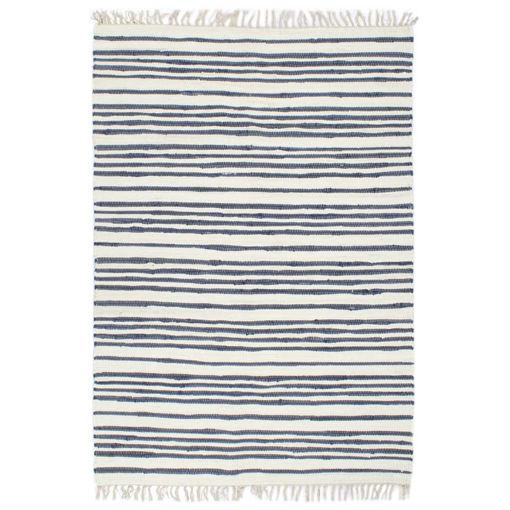 Immagine di Tappeto Chindi Tessuto a Mano in Cotone 120x170 cm Blu e Bianco