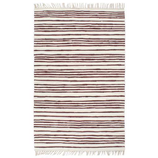 Immagine di Tappeto Chindi Artigianale Cotone 80x160 cm Borgogna e Bianco