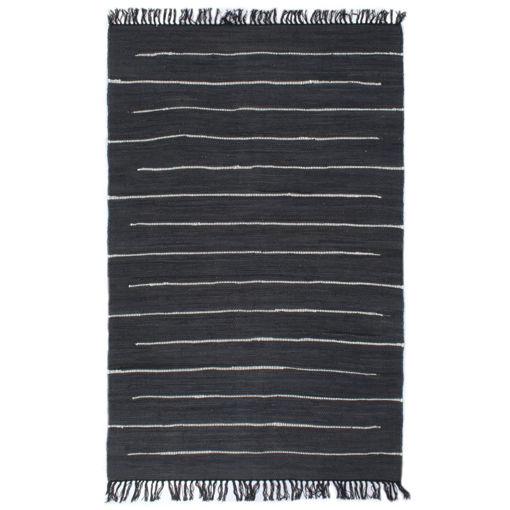 Immagine di Tappeto Chindi Tessuto a Mano in Cotone 120x170 cm Antracite
