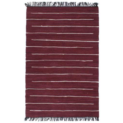 Immagine di Tappeto Chindi Tessuto a Mano in Cotone 80x160 cm Borgogna
