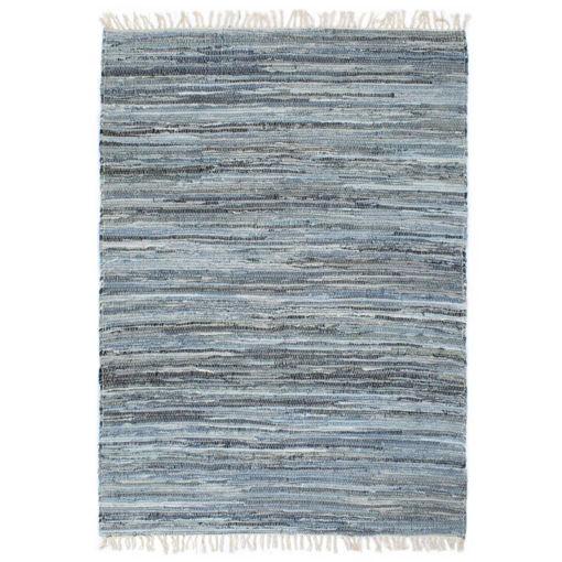 Immagine di Tappeto Chindi Tessuto a Mano in Denim 160x230 cm Blu