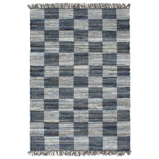 Immagine di Tappeto Chindi Tessuto a Mano in Denim 120x170 cm Blu