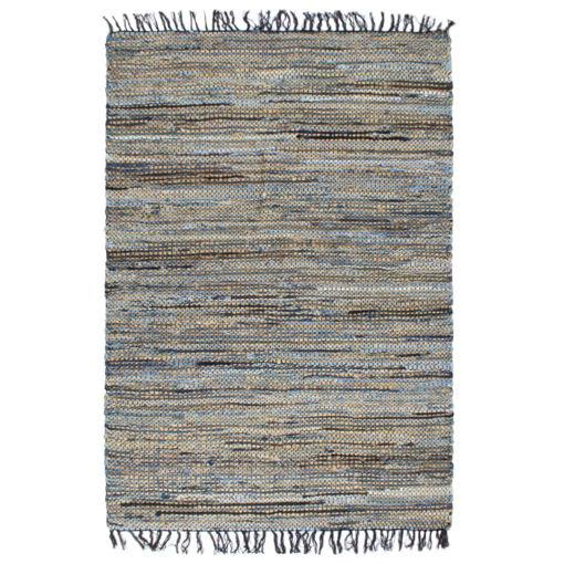Immagine di Tappeto Chindi Tessuto a Mano Denim Iuta 160x230 cm Multicolore