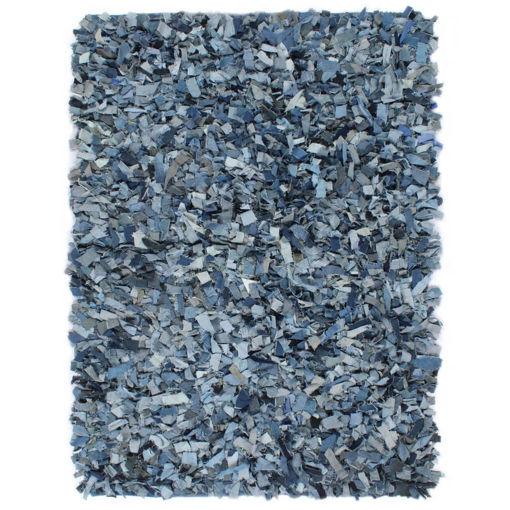 Immagine di Tappeto Shaggy a Pelo Lungo in Denim 160x230 cm Blu
