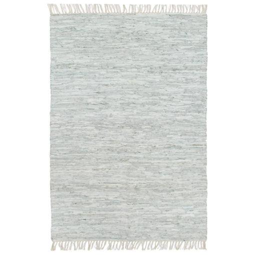 Immagine di Tappeto Chindi Tessuto a Mano in Pelle 120x170 cm Grigio Chiaro