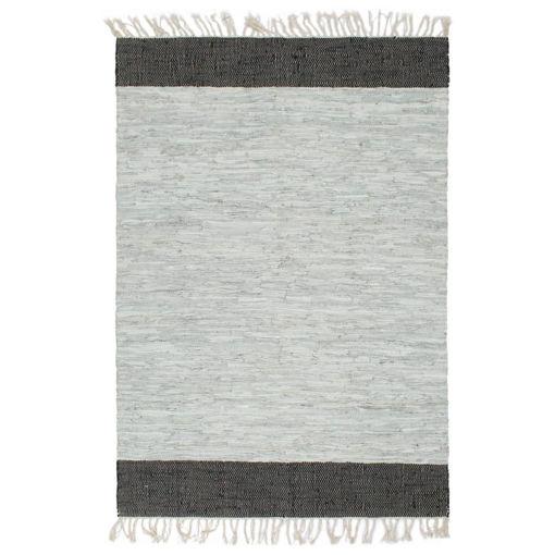 Immagine di Tappeto Chindi Tessuto a Mano Pelle 120x170cm Grigio Chiaro Nero