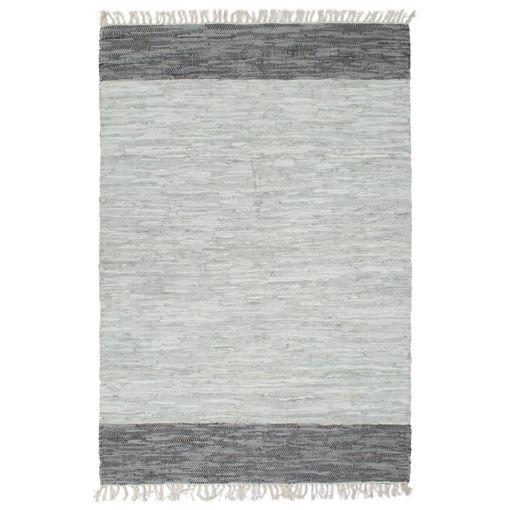 Immagine di Tappeto Chindi Tessuto a Mano in Pelle 190x280 cm Grigio
