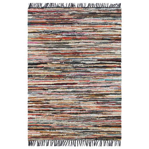 Immagine di Tappeto Chindi Tessuto a Mano in Pelle 80x160 cm Multicolore