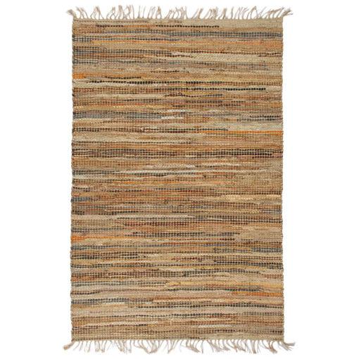 Immagine di Tappeto Chindi Tessuto a Mano in Pelle e Iuta 80x160 cm Tanno
