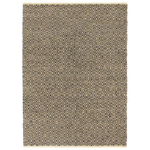 Immagine di Tappeto Chindi Tessuto a Mano in Pelle e Cotone 80x160 cm Nero