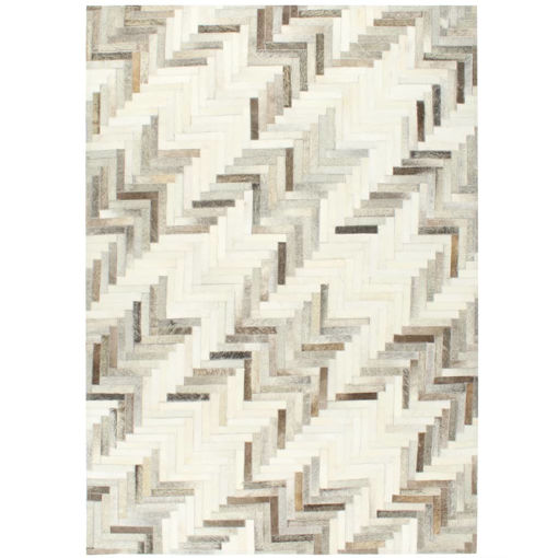Immagine di Tappeto in Pelle con Pelo Patchwork 160x230 cm Grigio/Bianco
