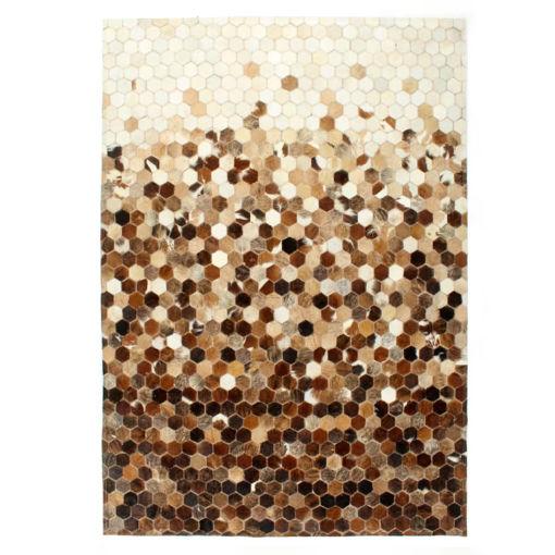 Immagine di Tappeto in Pelle con Pelo Patchwork 80x150cm Marrone/Bianco