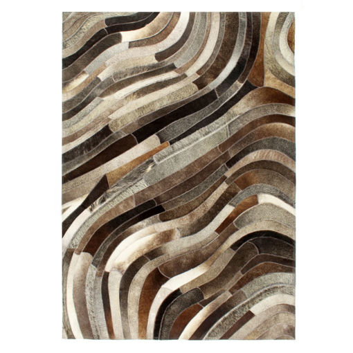 Immagine di Tappeto in Pelle con Pelo Patchwork 80x150cm Grigio/Argento