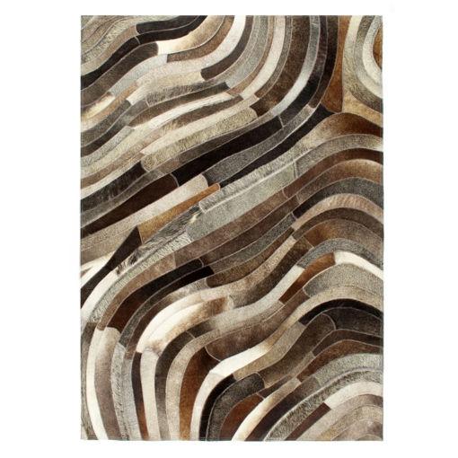 Immagine di Tappeto in Pelle con Pelo Patchwork 160x230 cm Grigio/Argento