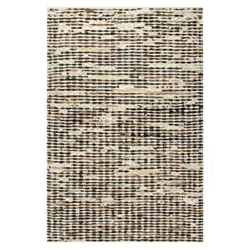 Immagine di Tappeto in Pelle con Pelo 80x150cm Nero/Bianco