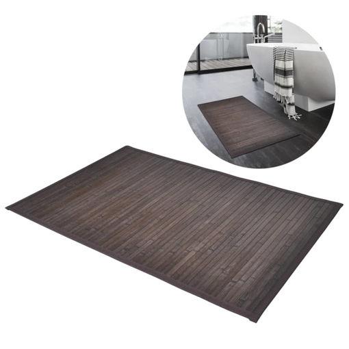 Immagine di 2 Tappetini da bagno in Bamboo 40 x 50 cm Marrone scuro