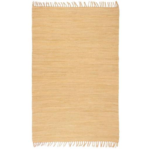 Immagine di Tappeto Chindi Tessuto a Mano in Cotone 80x160 cm Beige