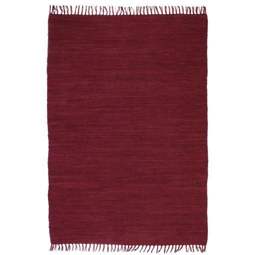 Immagine di Tappeto Chindi Tessuto a Mano in Cotone 120x170 cm Borgogna