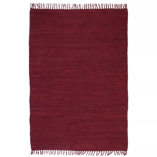Immagine di Tappeto Chindi Tessuto a Mano in Cotone 160x230 cm Borgogna