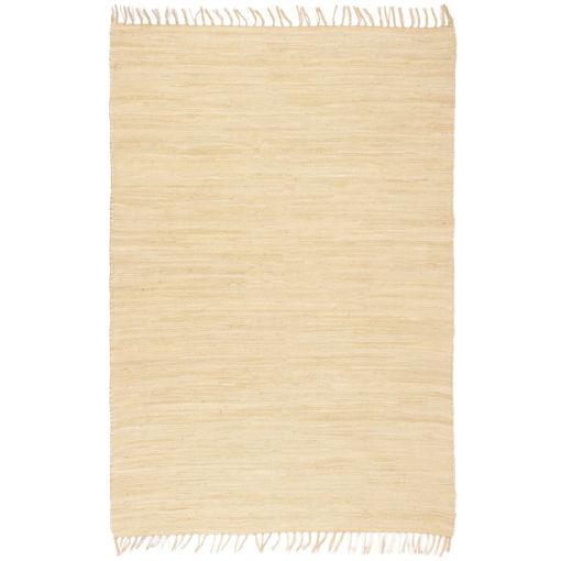 Immagine di Tappeto Chindi Tessuto a Mano in Cotone 80x160 cm Crema