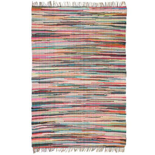 Immagine di Tappeto Chindi Tessuto a Mano in Cotone 80x160 cm Multicolore
