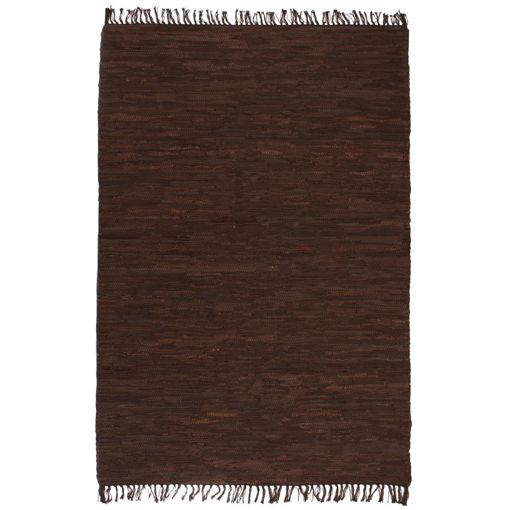Immagine di Tappeto Chindi Tessuto a Mano in Pelle 80x160 cm Marrone