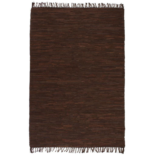 Immagine di Tappeto Chindi Tessuto a Mano in Pelle 190x280 cm Marrone