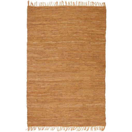 Immagine di Tappeto Chindi Tessuto a Mano in Pelle 80x160 cm Marrone Chiaro