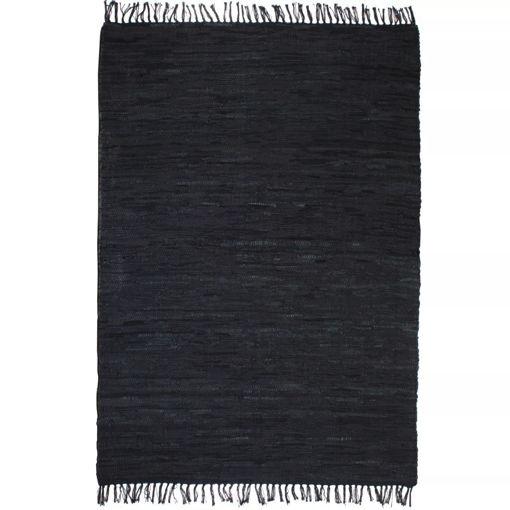 Immagine di Tappeto Chindi Tessuto a Mano in Pelle 80x160 cm Nero