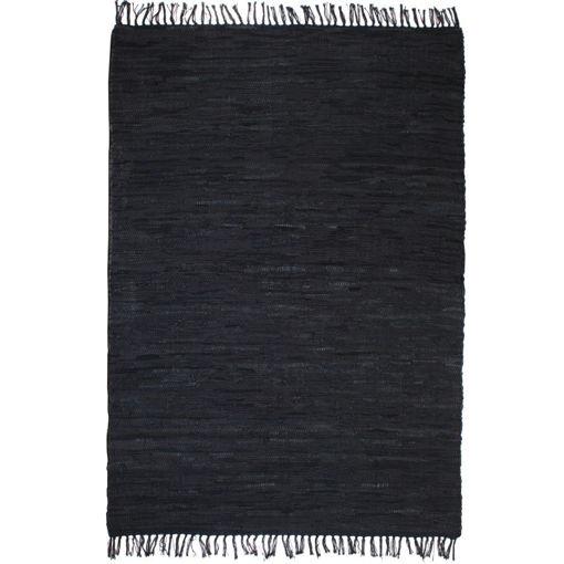 Immagine di Tappeto Chindi Tessuto a Mano in Pelle 190x280 cm Nero