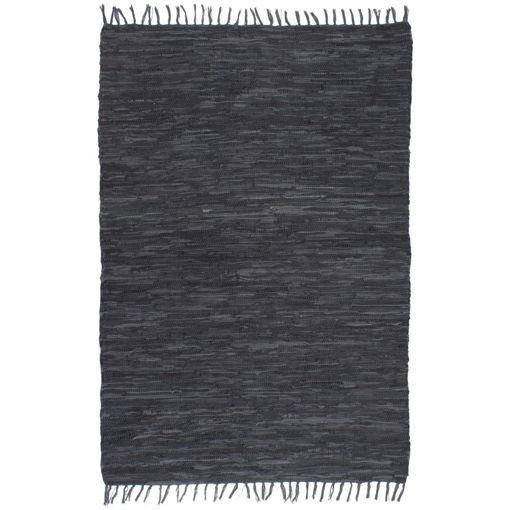 Immagine di Tappeto Chindi Tessuto a Mano in Pelle 80x160 cm Grigio