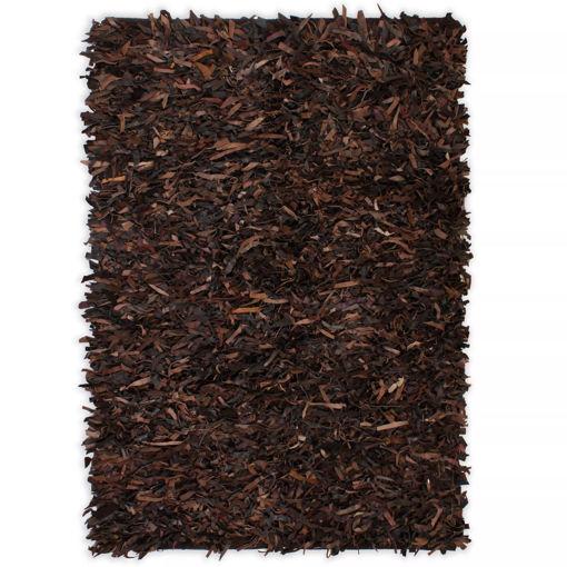 Immagine di Tappeto Shaggy a Pelo Lungo in Vera Pelle 120x170 cm Marrone