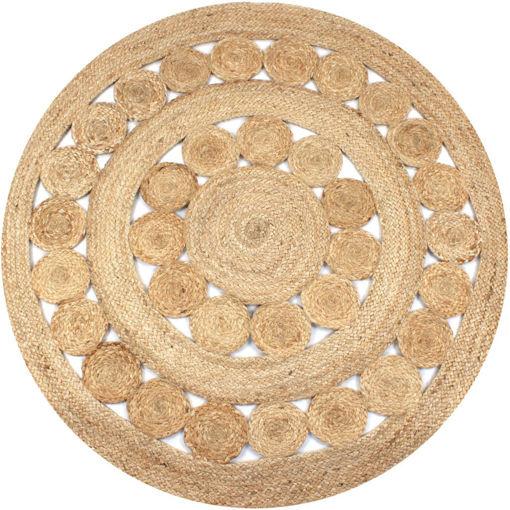 Immagine di Tappeto in Juta Intrecciata con Disegno 120 cm Rotondo