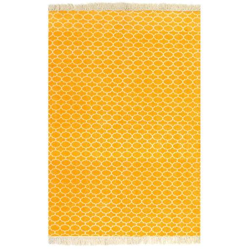 Immagine di Tappeto Kilim in Cotone 120x180 cm Giallo con Motivi