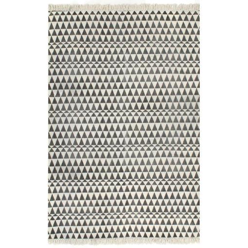 Immagine di Tappeto Kilim in Cotone 120x180 cm con Motivi Bianchi/Neri