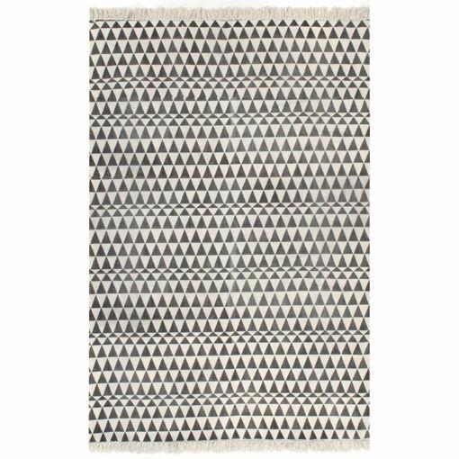 Immagine di Tappeto Kilim in Cotone 160x230 cm con Motivi Neri/Bianchi