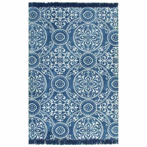 Immagine di Tappeto Kilim in Cotone 120x180 cm con Motivi Blu