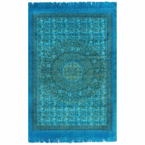 Immagine di Tappeto Kilim in Cotone 120x180 cm con Motivi Turchese