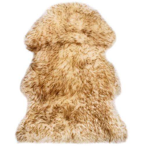 Immagine di Tappeto in Pelle di Montone 60x90 cm Marrone Melange