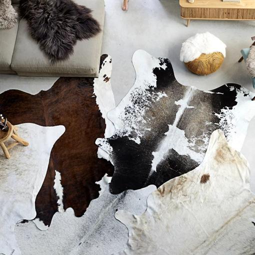 Immagine di Tappeto in Vera Pelle Bovina Bianco e Nero 150x170 cm
